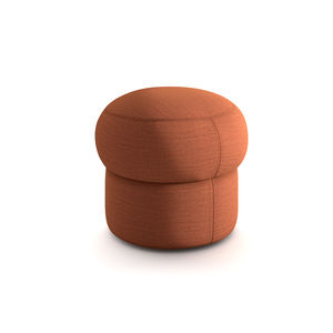 moderner Sitzpuff / Leder / Wolle / Baumwolle