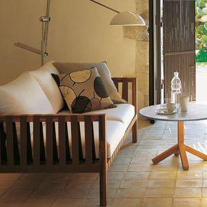 modernes Sofa / Garten / Stoff / aus Teakholz