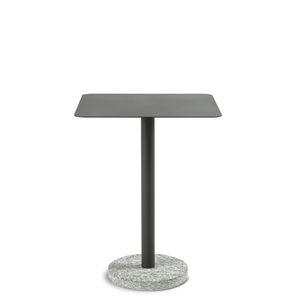 moderner Beistelltisch / Edelstahl / Stein / mit Fußgestell aus Naturstein