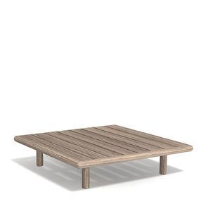 moderner Couchtisch / aus Teakholz / mit Fußgestell aus Teakholz / quadratisch