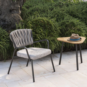 moderner Sessel / Textil / aus Teakholz / Aluminium