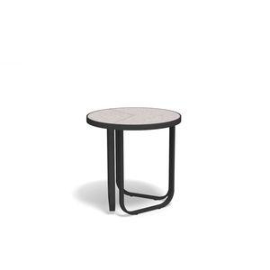 moderner Couchtisch / aus Sandstein / Feinsteinzeug / mit Fußgestell aus lackiertem Aluminium
