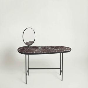 moderner Konsolentisch / lackiertes MDF / mit Fußgestell aus Stahl / oval