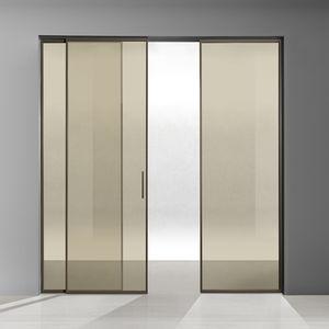 Tür für Innenbereich / Schiebe / Glas / Aluminium