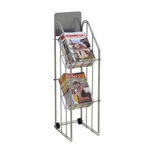 Ablageregal für Broschüren / Metall / auf Rollen / für Geschäfte
