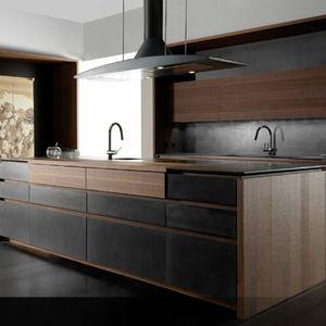 moderne Küche / Holz / Zement / Kochinsel
