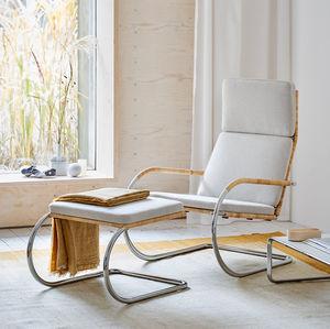 minimalistischer Sessel / Stoff / Leder / aus Korbweide