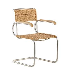 Stuhl / Bauhaus Design / mit Armlehnen / mit Überhang / Stoff