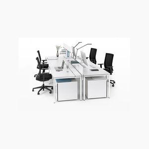 Schreibtisch für Open Space / Aluminium / pulverbeschichteter Stahl / modern