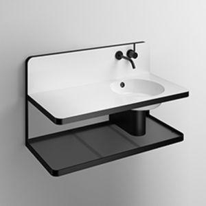 Wand-Waschbecken / rechteckig / Glas / versiegelter Stahl