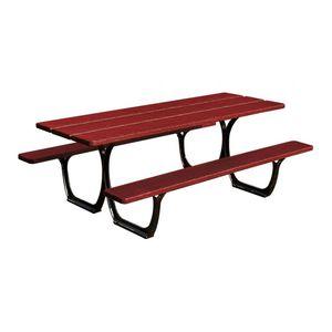 moderner Picknicktisch / aus Tropenholz / Gusseisen / rechteckig