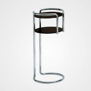 moderner Beistelltisch / Chromstahl / Laminat / mit Fußgestell aus verchromtem Metall