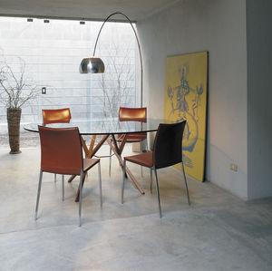 moderner Tisch / aus Wenge / Glas / Stahl