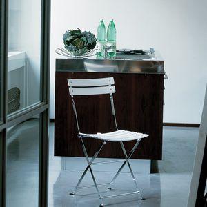 moderner Stuhl / Klapp / aus lackiertem Stahl / Nylon