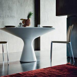 moderner Tisch / Cristalplant® / rund / weiß