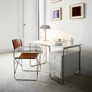 Edelstahl-Schreibtisch / modern / integrierter Stauraum