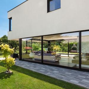 Schiebe-Glaswand / Verbundwerkstoff / PVC / Doppelverglasung
