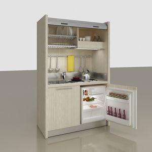kompakte Kochnische / kaschiert / mit integrierten Elektrogeräten / für Studio