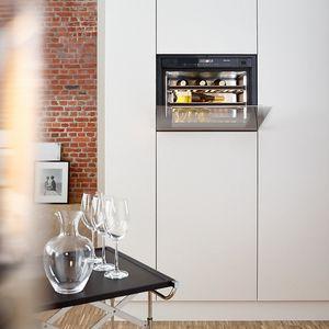 Einbau-Weinkühlschrank / Edelstahl / Holz / Glas