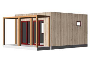 Fertigbauhaus / temporär / modern / aus Holz