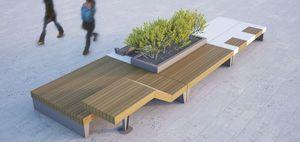 Parkbank / originelles Design / Holz / Stahl