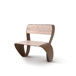 moderner Stuhl / Holz / verzinkter Stahl / COR-TEN®-Stahl