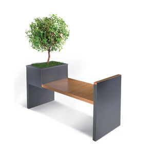 Parkbank / modern / Holz / verzinkter Stahl