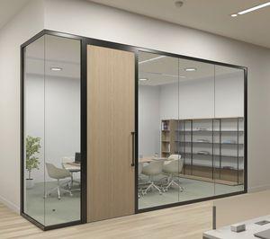 abnehmbare Trennwand / Dreh Schiebe / Glas / Büro