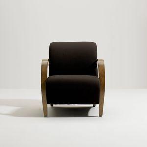 moderner Sessel / aus Nussbaum / Stoff / mit Armlehnen
