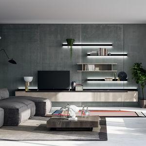 moderne Wohnwand / mattlackiertes Holz / Holz, lackiert seidenmatt / gestrichenes Metall