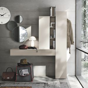 moderner Eingangsbereich / wandmontiert / lackiertes Holz / mit Spiegel