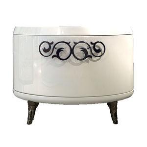 klassischer Nachttisch / lackiertes Holz / mit Fußgestell aus Holz / oval