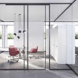 festinstallierte Trennwand / verglast / Aluminium / zur beruflichen Nutzung