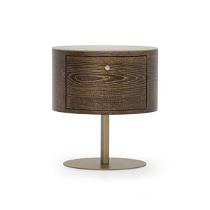 moderner Nachttisch / Holzfurnier / Leder / mit Fußgestell aus Metall