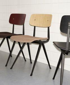moderner Stuhl / aus Eiche / Stahlblech / schwarz