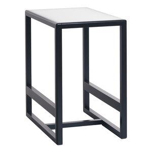 moderner Tisch / Glas / mit Fußgestell aus Eiche / mit Fußgestell aus Buche