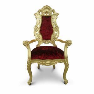 Neobarock-Sessel / Samt / Massivholz / für Schönheitssalon