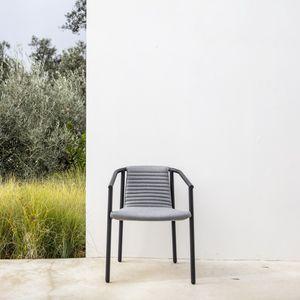 moderner Sessel / Stoff / Edelstahl / mit abnehmbarem Kissen
