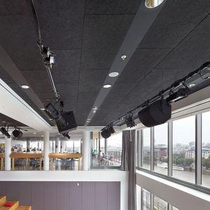 Akustikplatte für abgehängte Decken / wandmontiert / aus Holzwolle / farbig