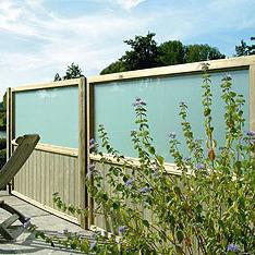 Gartenzaun / Platten / Holz / Glas