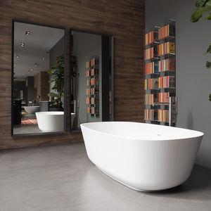 freistehende Badewanne / oval / Mineralwerkstoff / Stein