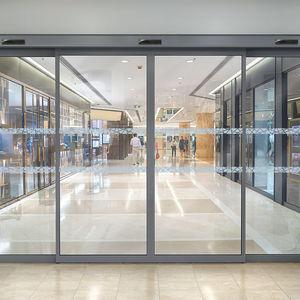 Eingangstür / Schiebe / Glas / Aluminium
