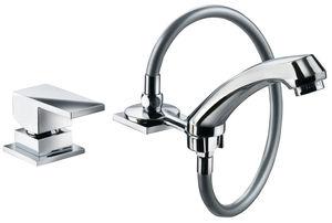 Einhebelmischer für Waschtisch / verchromtes Metall / für Badezimmer / 2-Loch