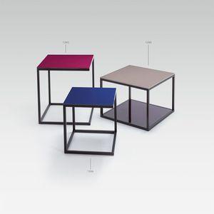 moderner Couchtisch / Metall / Laminat / quadratisch