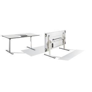 moderner Besprechungstisch / Holzfurnier / HPL / Metall