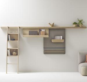 wandmontiertes Regalsystem / modern / Massivholz / für Privatgebrauch