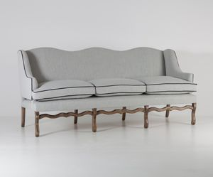 klassisches Sofa / Stoff / 3 Plätze / grau