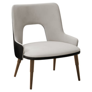 moderner Sessel / Stoff / Holz / weiß