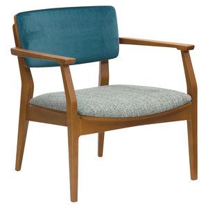 moderner Sessel / Stoff / Holz / mehrfarbig