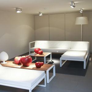 moderne Tischgarnitur / Stahl / Garten / Außenbereich